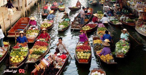 بازار شناور دامنون سادواک تایلند
